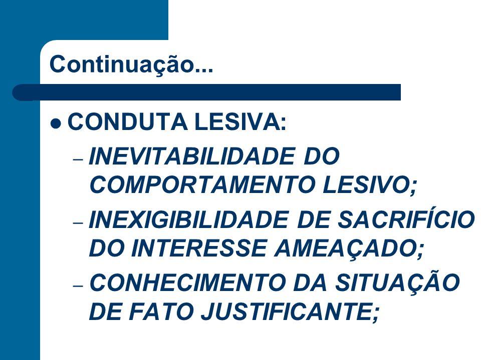 Continuação... CONDUTA LESIVA: INEVITABILIDADE DO COMPORTAMENTO LESIVO; INEXIGIBILIDADE DE SACRIFÍCIO DO INTERESSE AMEAÇADO;