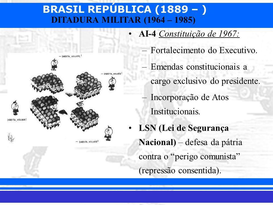 AI-4 Constituição de 1967: Fortalecimento do Executivo. Emendas constitucionais a cargo exclusivo do presidente.