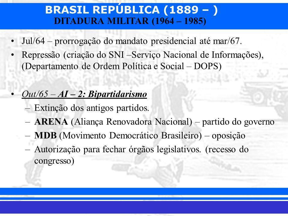 Jul/64 – prorrogação do mandato presidencial até mar/67.