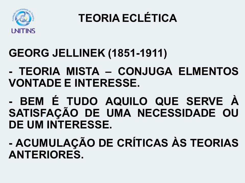 TEORIA ECLÉTICAGEORG JELLINEK (1851-1911) - TEORIA MISTA – CONJUGA ELMENTOS VONTADE E INTERESSE.