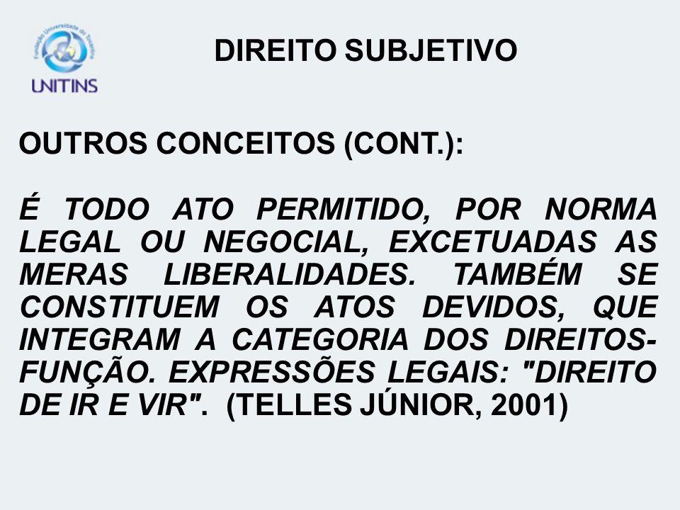 DIREITO SUBJETIVO OUTROS CONCEITOS (CONT.):