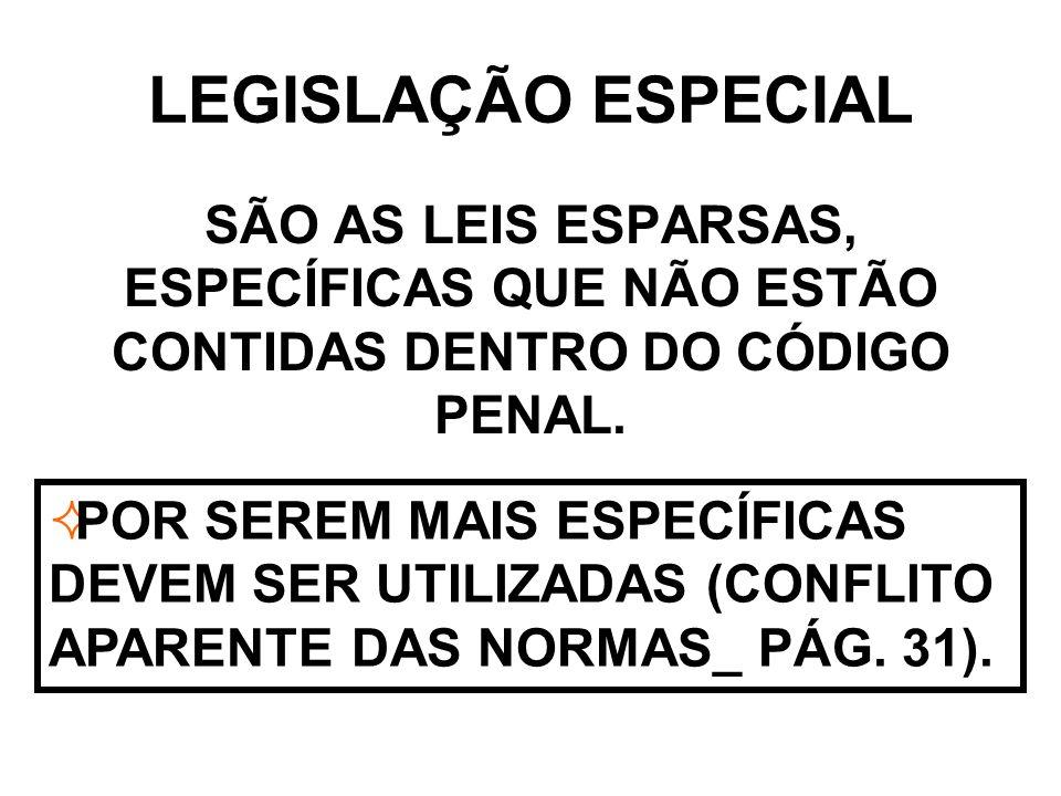 LEGISLAÇÃO ESPECIAL SÃO AS LEIS ESPARSAS, ESPECÍFICAS QUE NÃO ESTÃO CONTIDAS DENTRO DO CÓDIGO PENAL.