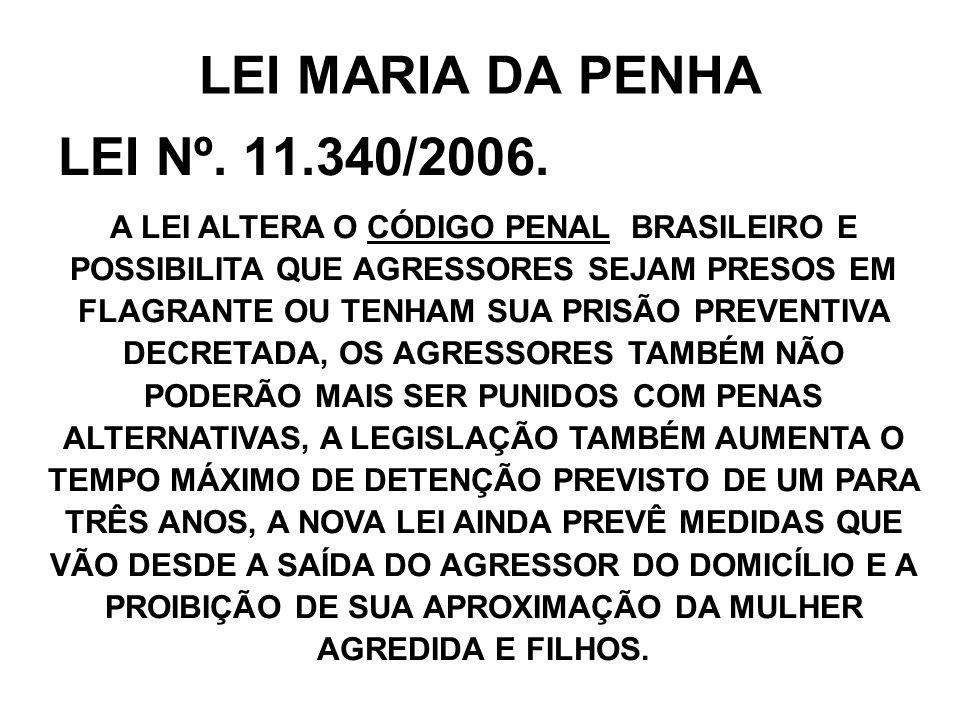 LEI MARIA DA PENHA LEI Nº. 11.340/2006.