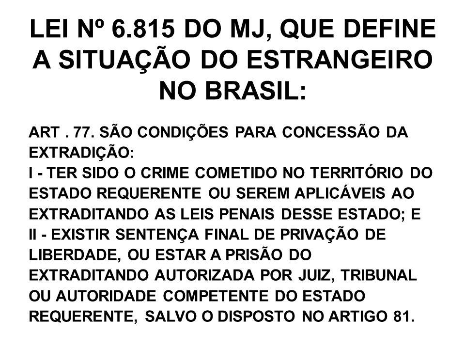 LEI Nº 6.815 DO MJ, QUE DEFINE A SITUAÇÃO DO ESTRANGEIRO NO BRASIL: