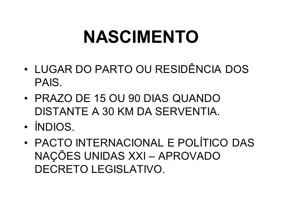 NASCIMENTO LUGAR DO PARTO OU RESIDÊNCIA DOS PAIS.