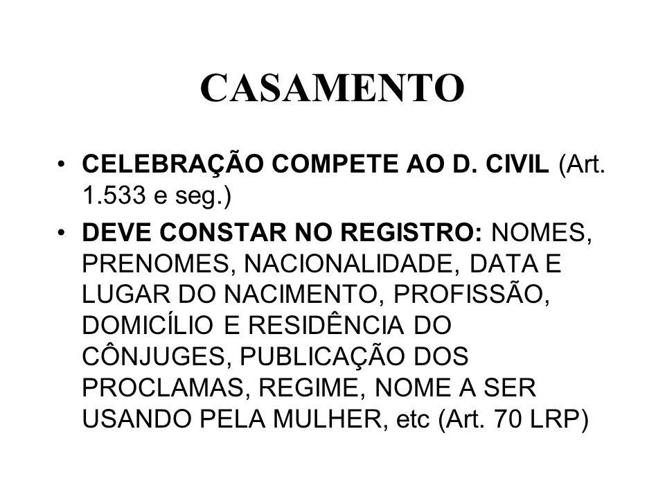 CASAMENTO CELEBRAÇÃO COMPETE AO D. CIVIL (Art. 1.533 e seg.)