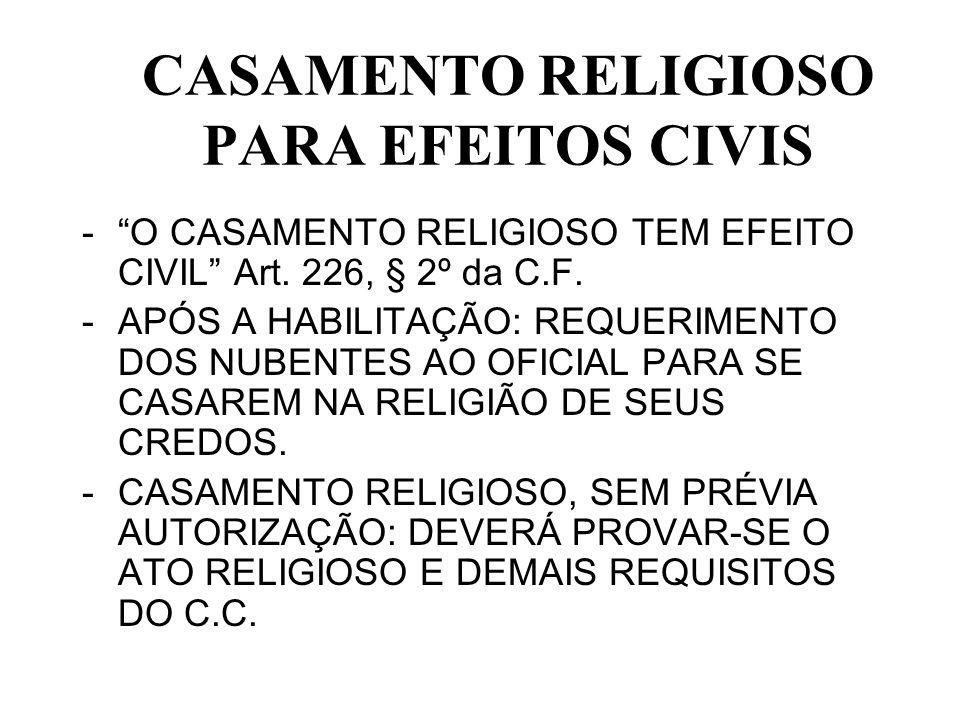 CASAMENTO RELIGIOSO PARA EFEITOS CIVIS
