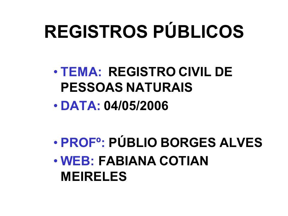 REGISTROS PÚBLICOS TEMA: REGISTRO CIVIL DE PESSOAS NATURAIS