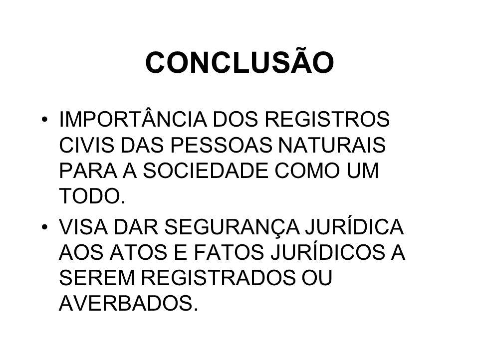 CONCLUSÃO IMPORTÂNCIA DOS REGISTROS CIVIS DAS PESSOAS NATURAIS PARA A SOCIEDADE COMO UM TODO.