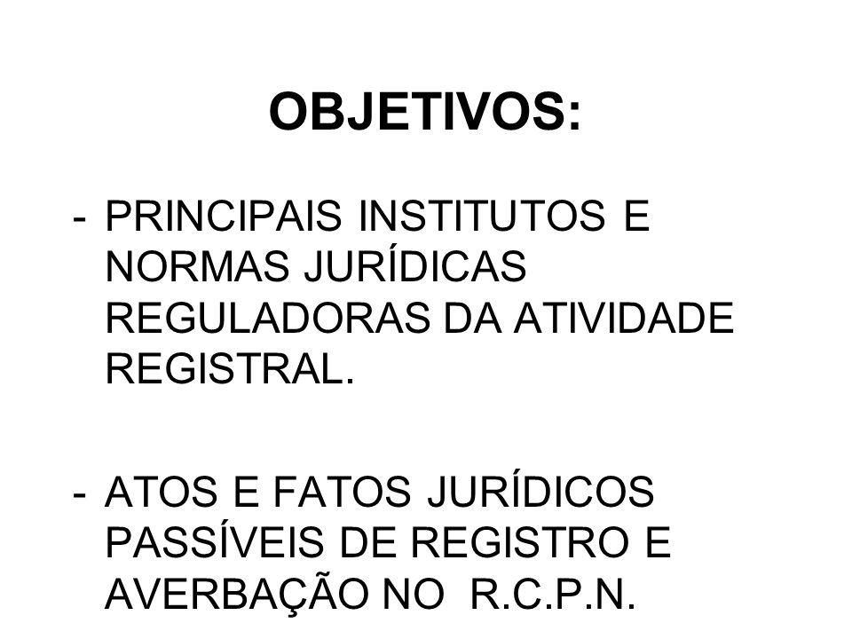 OBJETIVOS: PRINCIPAIS INSTITUTOS E NORMAS JURÍDICAS REGULADORAS DA ATIVIDADE REGISTRAL.