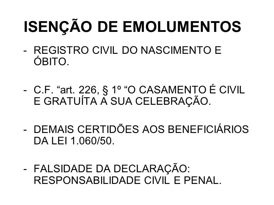 ISENÇÃO DE EMOLUMENTOS