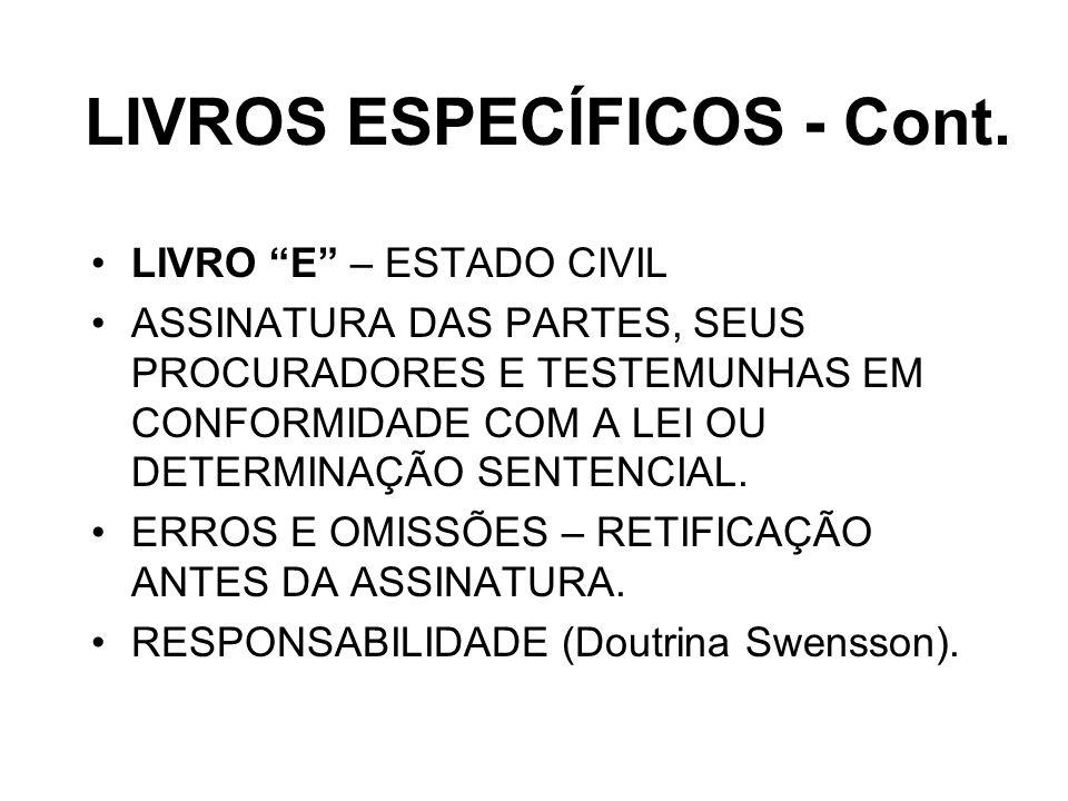 LIVROS ESPECÍFICOS - Cont.