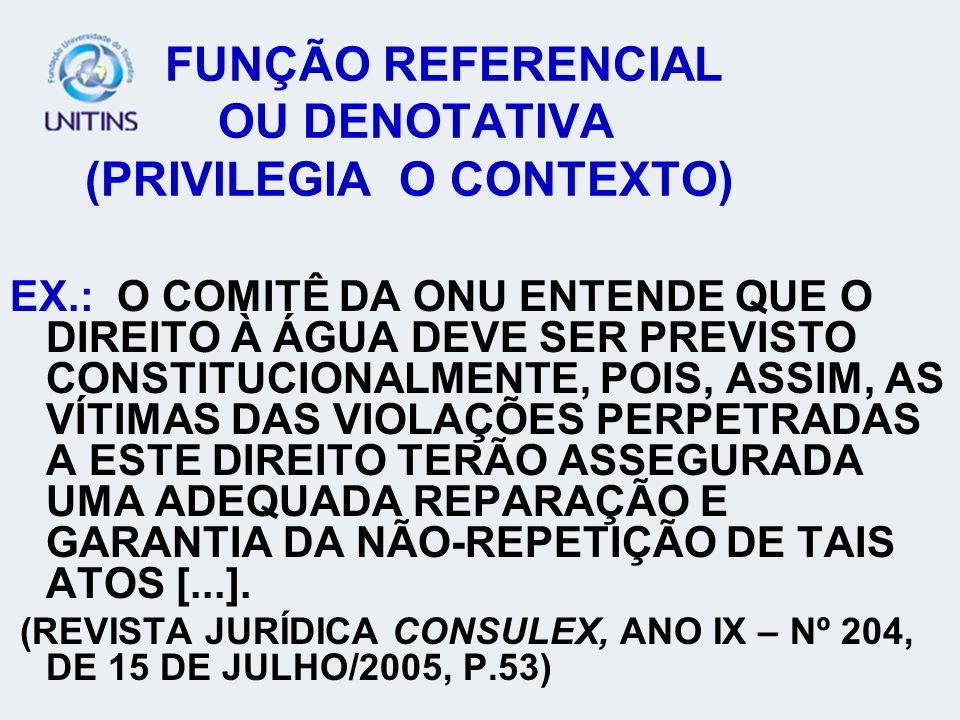 FUNÇÃO REFERENCIAL OU DENOTATIVA (PRIVILEGIA O CONTEXTO)