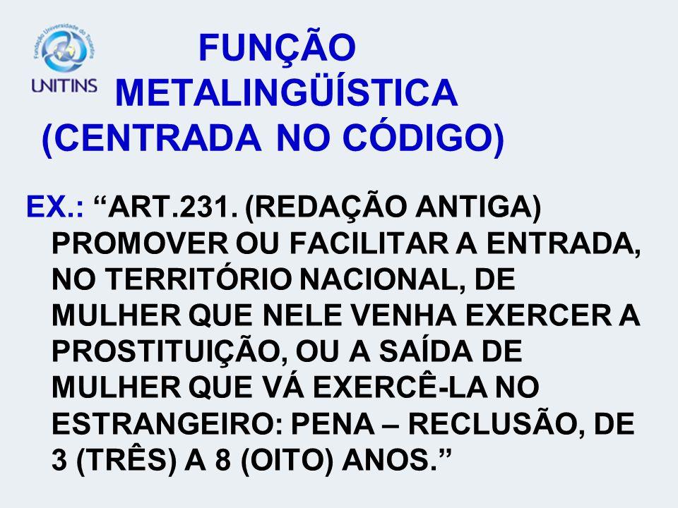 FUNÇÃO METALINGÜÍSTICA (CENTRADA NO CÓDIGO)