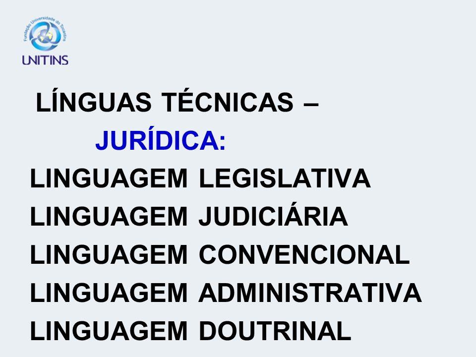 LINGUAGEM LEGISLATIVA LINGUAGEM JUDICIÁRIA LINGUAGEM CONVENCIONAL