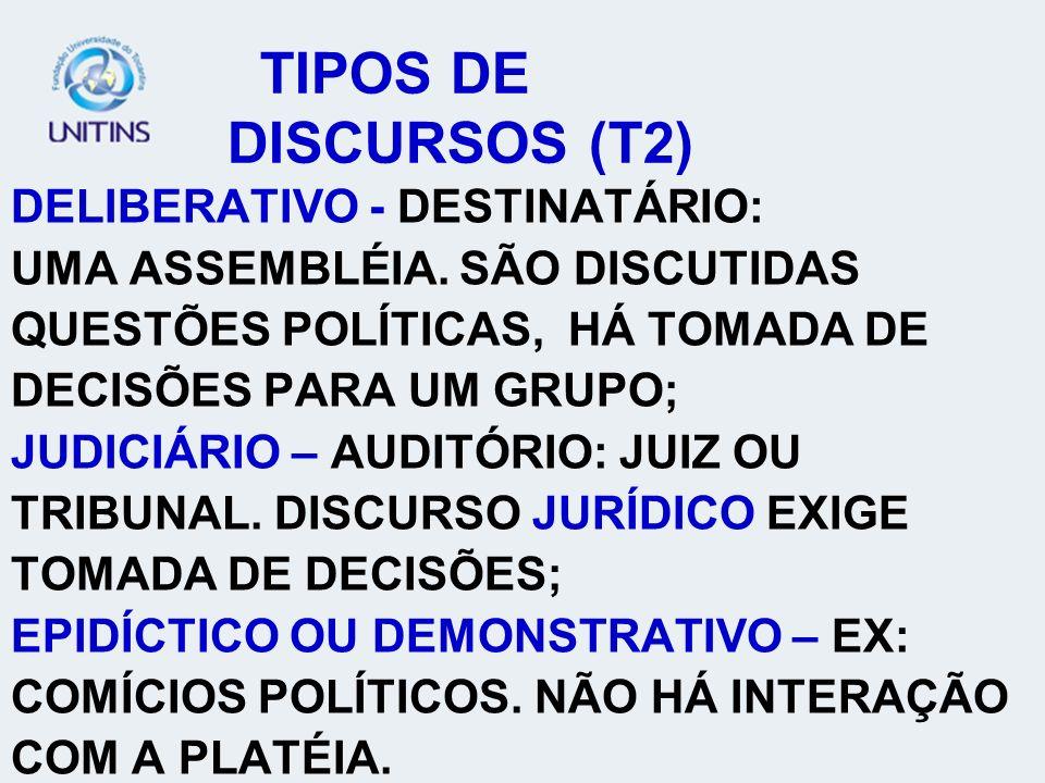 TIPOS DE DISCURSOS (T2) DELIBERATIVO - DESTINATÁRIO: