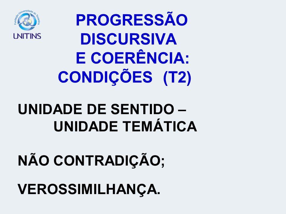 PROGRESSÃO DISCURSIVA E COERÊNCIA: CONDIÇÕES (T2)