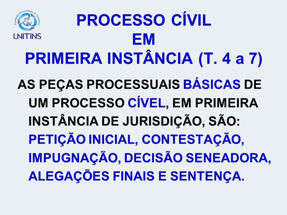 PROCESSO CÍVIL EM PRIMEIRA INSTÂNCIA (T. 4 a 7)