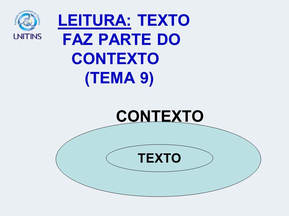 LEITURA: TEXTO FAZ PARTE DO CONTEXTO (TEMA 9) CONTEXTO