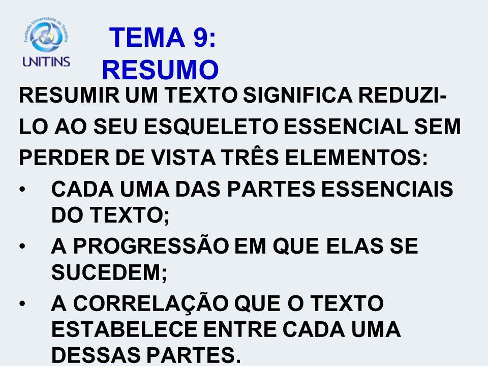 TEMA 9: RESUMO RESUMIR UM TEXTO SIGNIFICA REDUZI-