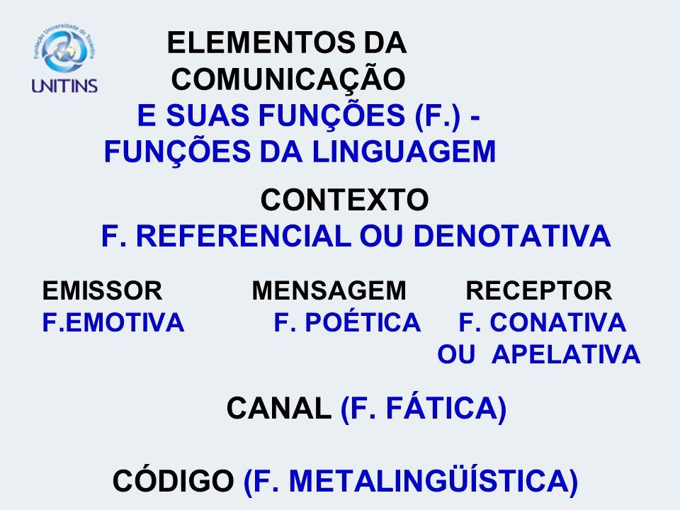 ELEMENTOS DA COMUNICAÇÃO E SUAS FUNÇÕES (F.) - FUNÇÕES DA LINGUAGEM