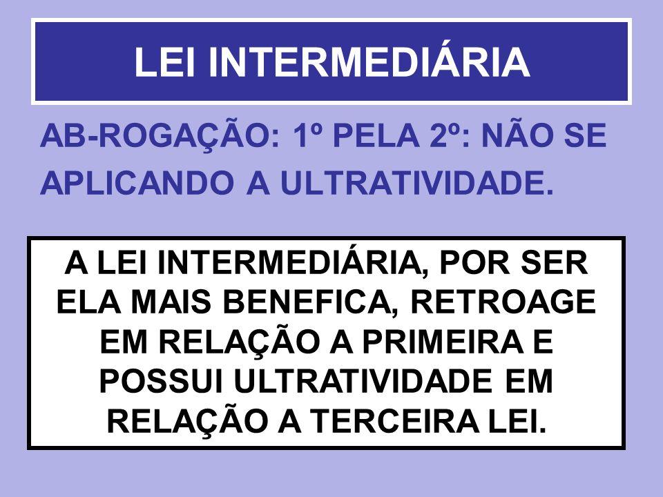 LEI INTERMEDIÁRIA AB-ROGAÇÃO: 1º PELA 2º: NÃO SE APLICANDO A ULTRATIVIDADE.
