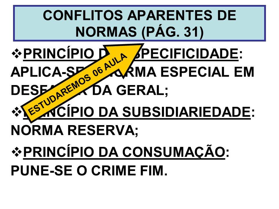 CONFLITOS APARENTES DE NORMAS (PÁG. 31)