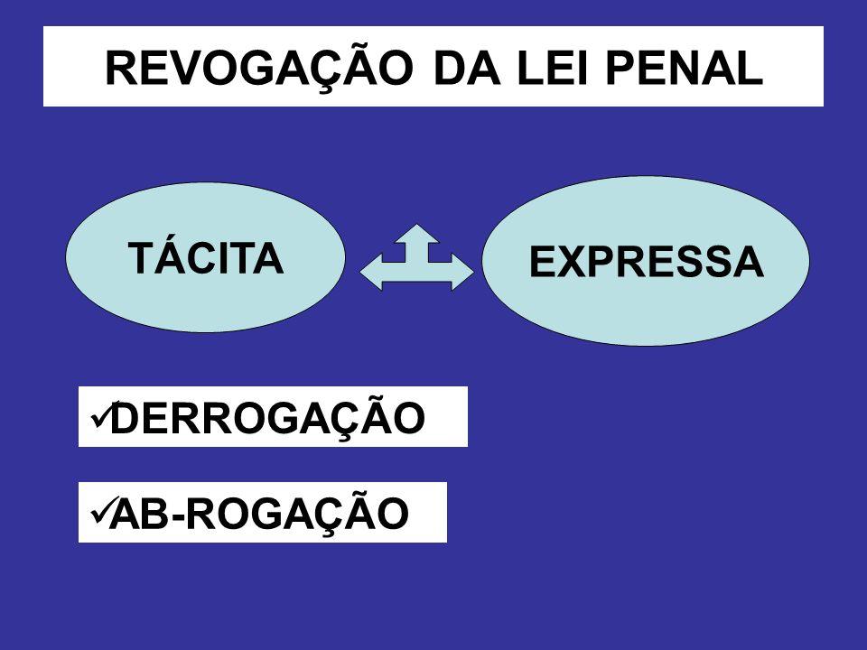 REVOGAÇÃO DA LEI PENAL EXPRESSA TÁCITA DERROGAÇÃO AB-ROGAÇÃO