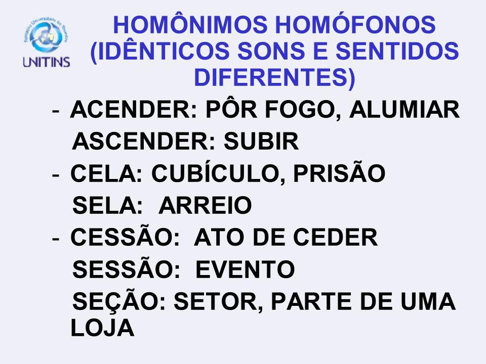 HOMÔNIMOS HOMÓFONOS (IDÊNTICOS SONS E SENTIDOS DIFERENTES)