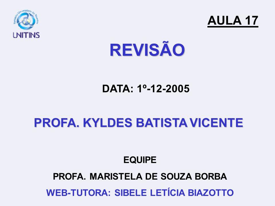 REVISÃO AULA 17 PROFA. KYLDES BATISTA VICENTE DATA: 1º-12-2005 EQUIPE