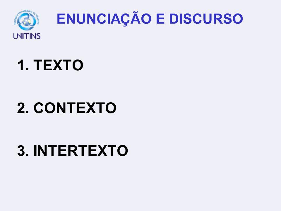 ENUNCIAÇÃO E DISCURSO 1. TEXTO 2. CONTEXTO 3. INTERTEXTO