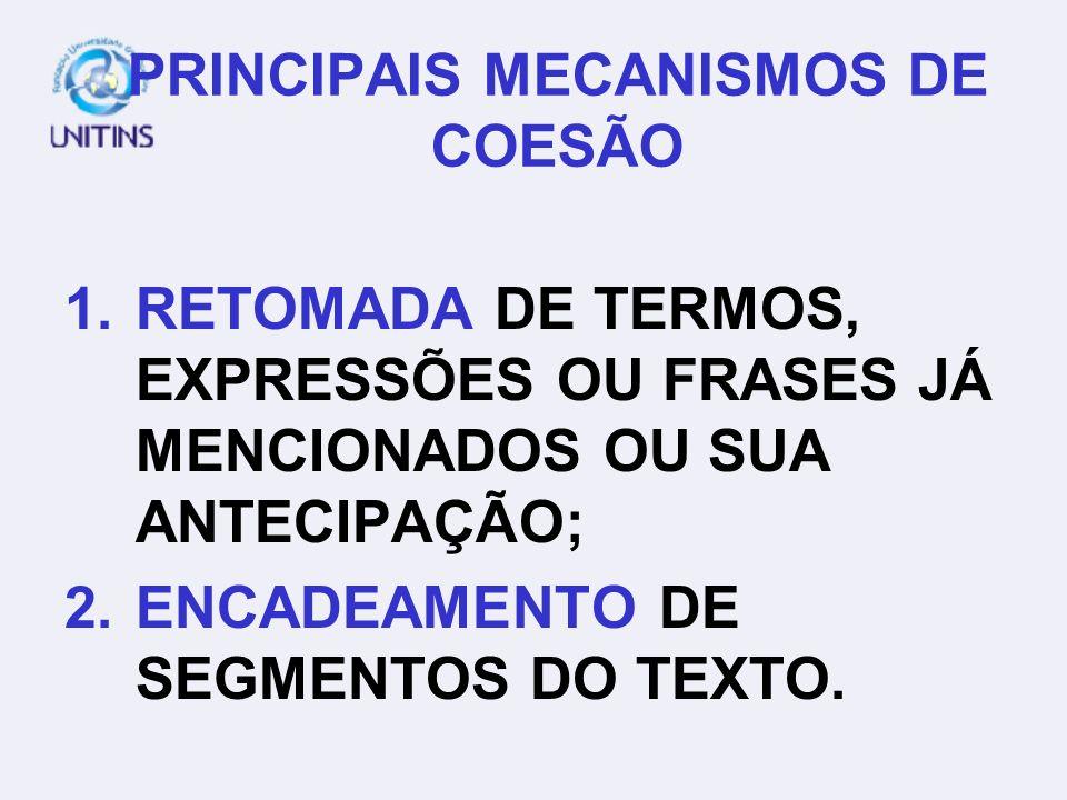PRINCIPAIS MECANISMOS DE COESÃO