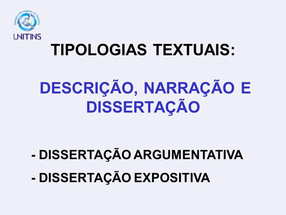 TIPOLOGIAS TEXTUAIS: DESCRIÇÃO, NARRAÇÃO E DISSERTAÇÃO