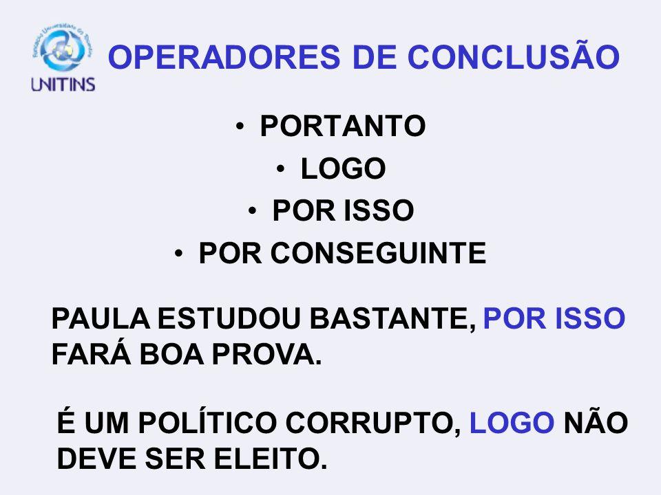 OPERADORES DE CONCLUSÃO