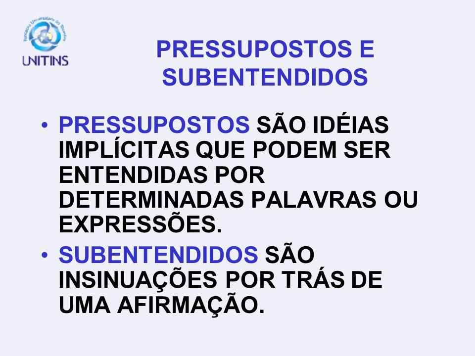 PRESSUPOSTOS E SUBENTENDIDOS