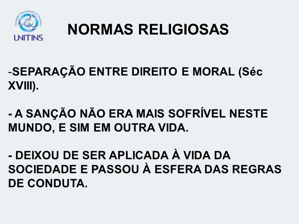NORMAS RELIGIOSAS SEPARAÇÃO ENTRE DIREITO E MORAL (Séc XVIII).