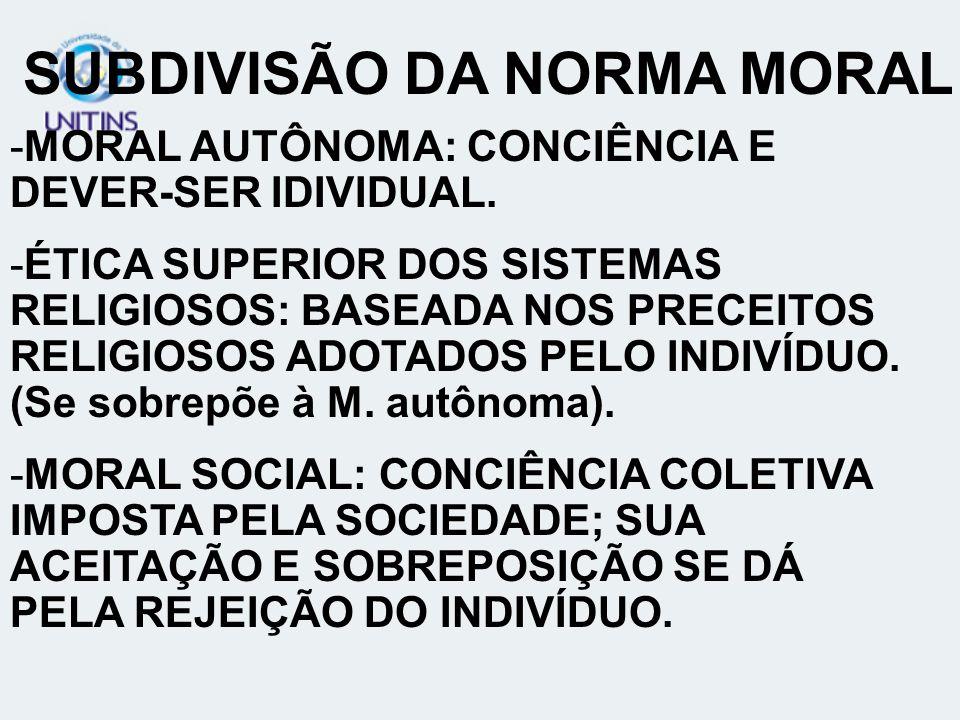SUBDIVISÃO DA NORMA MORAL