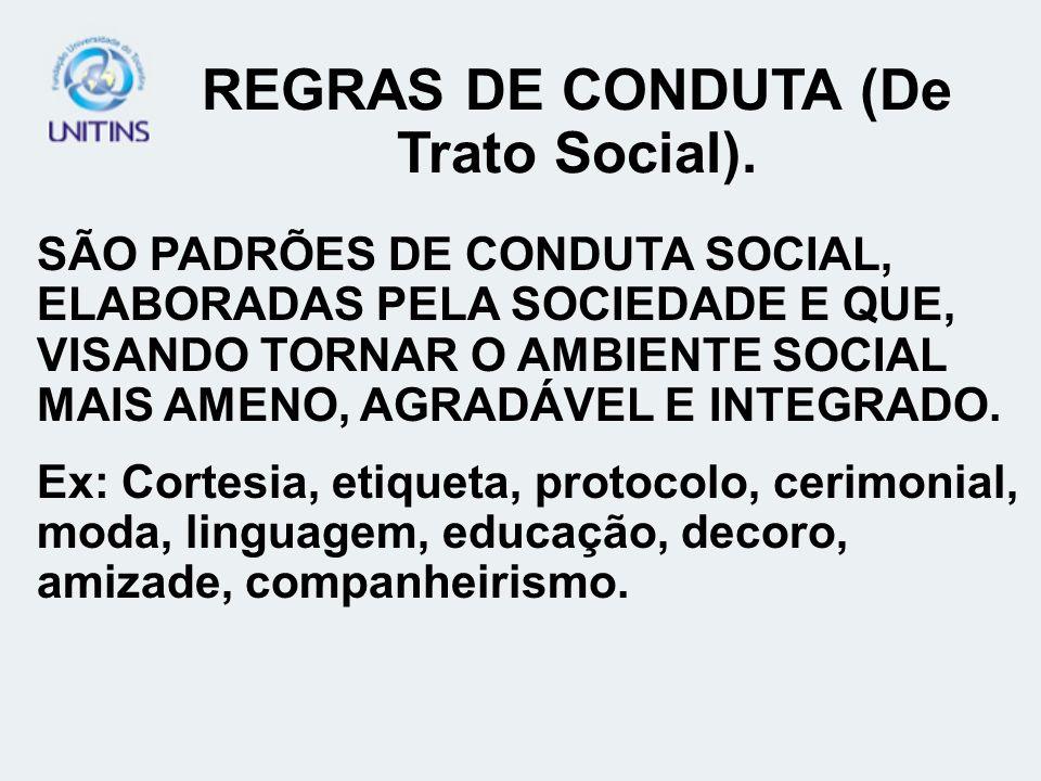 REGRAS DE CONDUTA (De Trato Social).