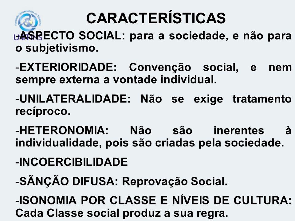 CARACTERÍSTICAS ASPECTO SOCIAL: para a sociedade, e não para o subjetivismo.