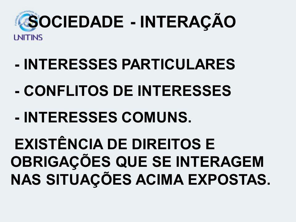 SOCIEDADE - INTERAÇÃO - INTERESSES PARTICULARES