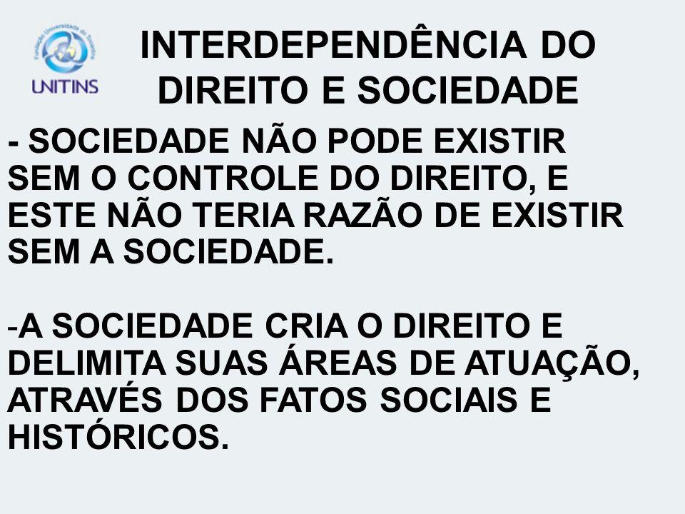 INTERDEPENDÊNCIA DO DIREITO E SOCIEDADE
