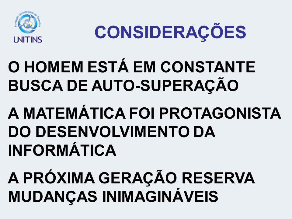 CONSIDERAÇÕES O HOMEM ESTÁ EM CONSTANTE BUSCA DE AUTO-SUPERAÇÃO