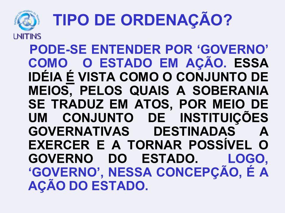 TIPO DE ORDENAÇÃO