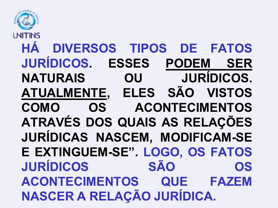 HÁ DIVERSOS TIPOS DE FATOS JURÍDICOS