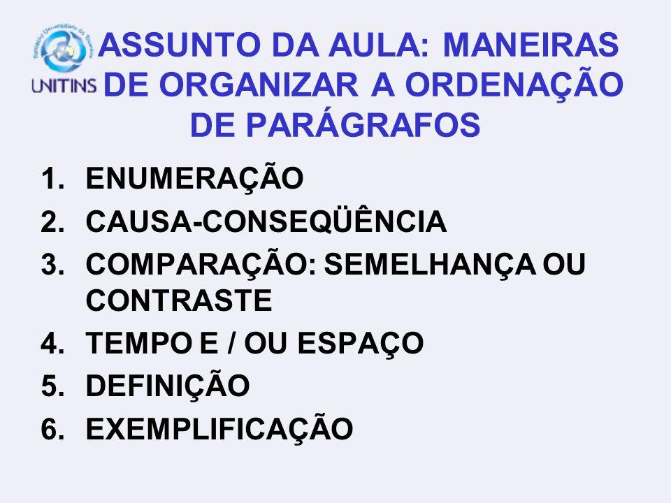 ASSUNTO DA AULA: MANEIRAS DE ORGANIZAR A ORDENAÇÃO DE PARÁGRAFOS