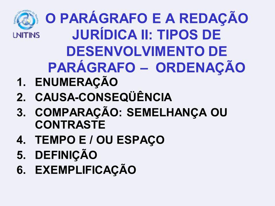 O PARÁGRAFO E A REDAÇÃO JURÍDICA II: TIPOS DE DESENVOLVIMENTO DE PARÁGRAFO – ORDENAÇÃO