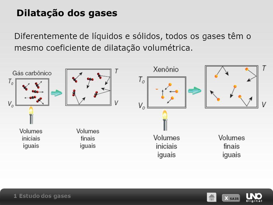 Dilatação dos gases Diferentemente de líquidos e sólidos, todos os gases têm o mesmo coeficiente de dilatação volumétrica.