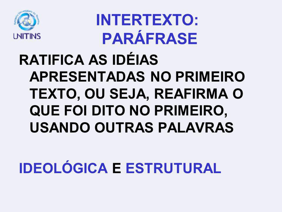 INTERTEXTO: PARÁFRASE