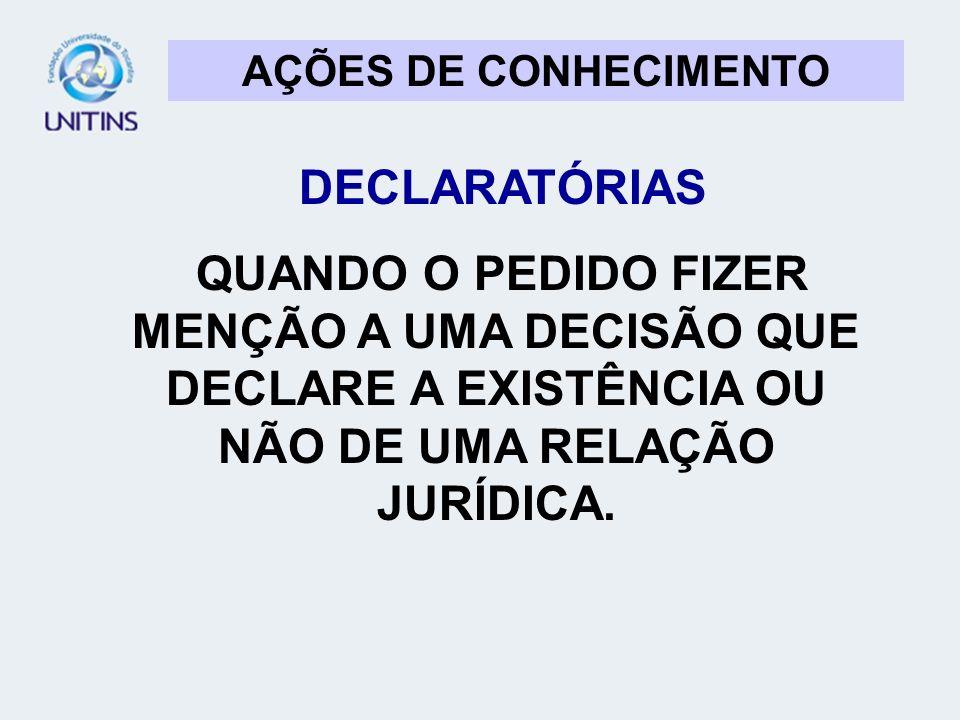 AÇÕES DE CONHECIMENTO DECLARATÓRIAS.