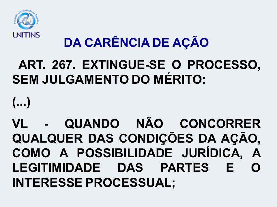 DA CARÊNCIA DE AÇÃO ART. 267. EXTINGUE-SE O PROCESSO, SEM JULGAMENTO DO MÉRITO: (...)